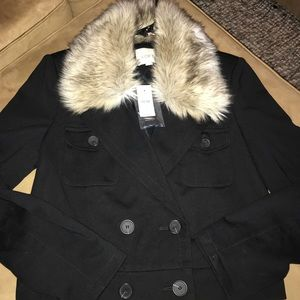 NWT, Ann Taylor Loft jacket with faux fur collar